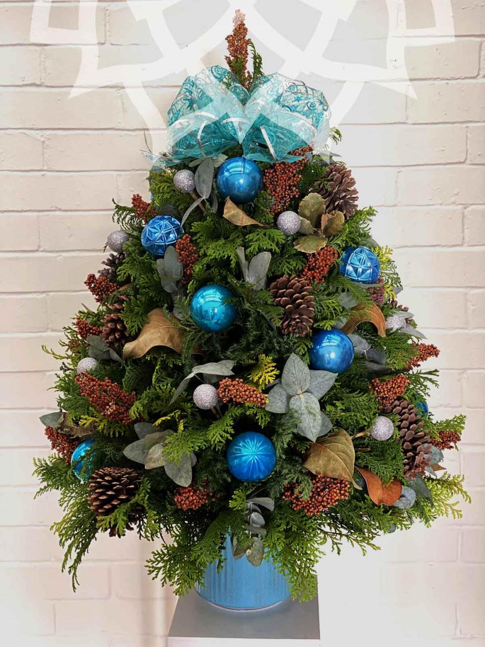 Árbol de navidad natural azul